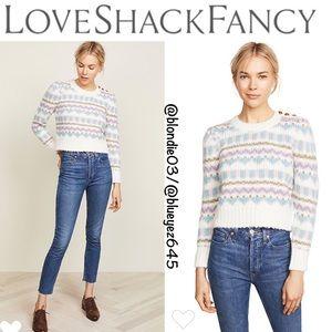 LoveShackFancy Pastel Fair Isle Sweater M